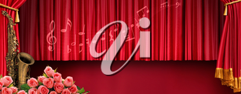 Luxury music banner with stand red tones.