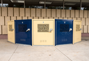 Set of secure box containers for commuters to store bicycles securely