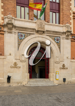Entrance to main post office in city of Cadiz in Southern Spain