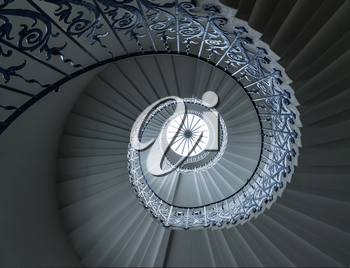 Spiral pattern of the tulip stairs in the Queen's palace in Greenwich London