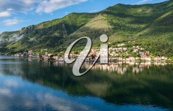 Small village of Prcanj on coastline of Gulf of Kotor in Montenegro