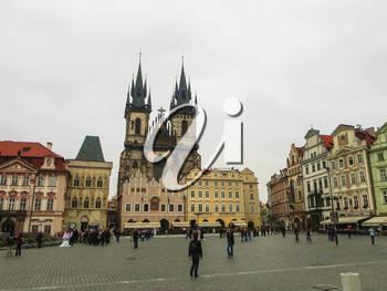 Prague, Czech Republic - August 23, 2016: Attractions of city Prague. Statues and monuments. Historical Buildings