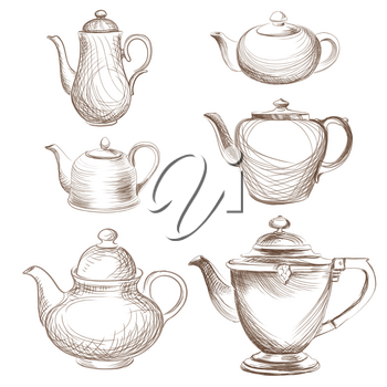 Kettles set. Teapots silhouette collection. Coffee pot isolated.