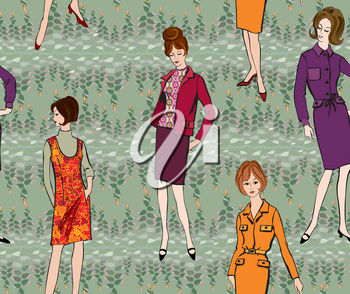 Vintage dressed girl 1960's style. Retro fashion party seamless pattern.