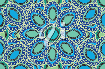 Oriental flower pattern Abstract floral ornament Swirl fabric background