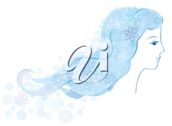 Winter Holiday background with snow girl portrait. Christmas sign