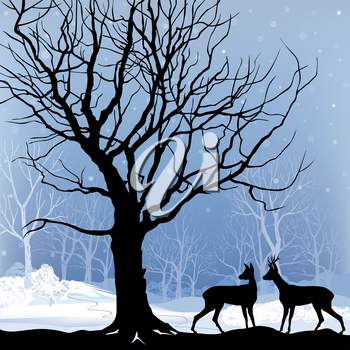 Snow winter landscape with two deers. Abstract vector illustration of winter forest. Snow winter background.