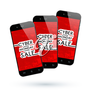 Cyber Monday Sale. Black Smartphone isolated. Vector illustration