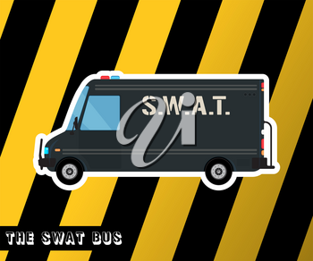 Swat truck isolated. Police bus. Special squad vehicle. Vector illustration