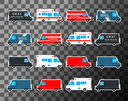 Various city urban traffic vehicles - mail delivery, fire department, police swat bus and ambulance truck. Set of service vans. Vector illustration.