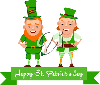 Vector illustration of two happy leprechauns. Cartoon the leprechauns greet and smile. Vector characters for St. Patrick's day. Elf leprechaun patrick and leprechaun girl for your design