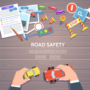 Road safety template with play car, road symbols. Vector illustration drivers education in flat style. Hand control car top view-traffic laws concept.