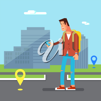 Vector illustration of young man teenager playing on a city street in a popular modern game on phone