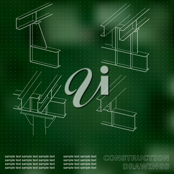 3D metal construction. The beams and columns. Cover, background for inscriptions. Construction drawings. Green. Points