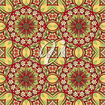 Seamless Mandala. Seamless oriental pattern. Doodle drawing. Hand drawing. Snowflake, floral motifs. Yellow and red