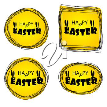 Greeting Happy Easter from ugly monsters funny rabbits. Lettering Easter. Silhouette of Bunny with long ears. Funny party invitation. Congratulations. Yellow vector illustration.