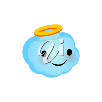 Vector illustration cloud smile icon. Face emoji blue angel cloud icon. Smile cute funny emotion face on transparent background. Happy feelings, expression for message, sms.