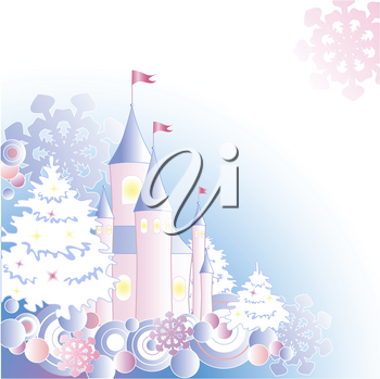 Christmas background with firs, castle and snowflakes