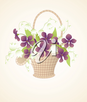 vector bouquet of violets and lilies of the valley in the basket