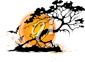 Halloween background with silhouette of a tree and setting sun