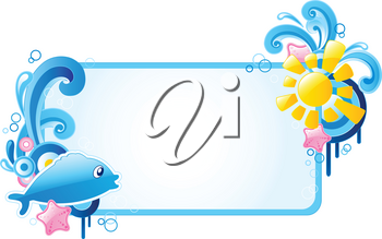 summer colored banner with ornament and fish