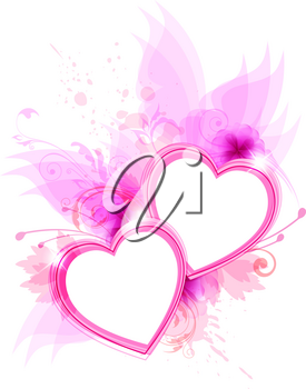 Romantic vector background with pink flowers and hearts