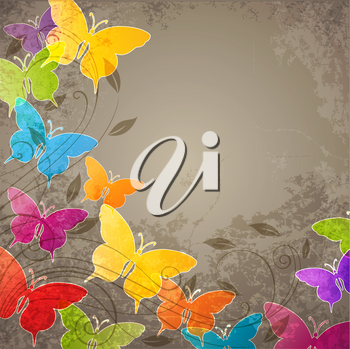 Vector abstract background with  butterflies and floral ornament