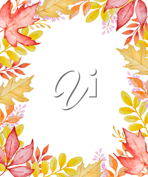 Watercolor floral frame with red and orange autumn leaves