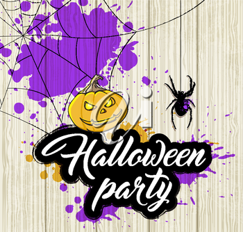 Halloween background with orange pumpkin and spider. Invitation for Halloween party.