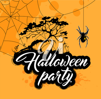 Halloween background with silhouette of tree and spider. Invitation for Halloween party.