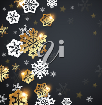 Black Christmas background with golden and white snowflakes. Design for Christmas card.