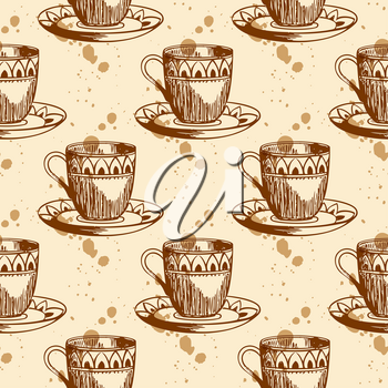 Vintage vector seamless pattern with cup of coffee