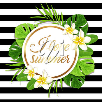 Summer round tropical background with green palm leaves and flowers. I love summer lettering.