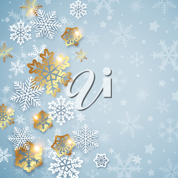 Abstract Christmas background with white and golden snowflakes. Design for new year greeting card. Vector illustration.