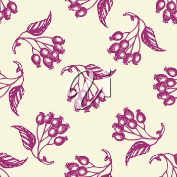 Autumn seamless pattern with berries and leaves. Hand drawn seasonal vector background in vintage style.