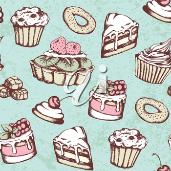 Hand drawn seamless pattern with candies and cakes in vintage style. Vector green background with sweets.