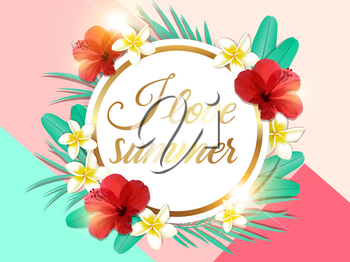 Abstract summer tropical background with green palm leaves and red hibiscus flowers. I love summer lettering.