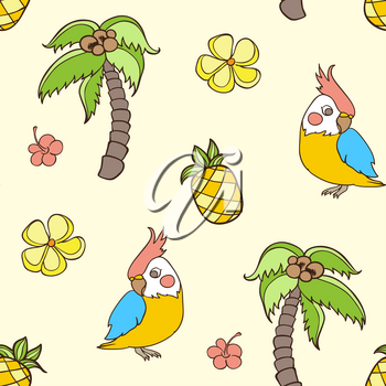 Doodle tropical seamless pattern with palm tree and parrot. Vector illustration