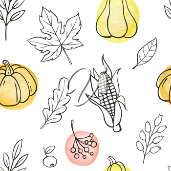 Autumn doodle seamless pattern with pumpkins and leaves on a white background. Hand drawn vector illustration with watercolor elements.