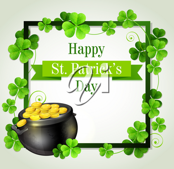Decorative frame with clover leaves and pot of gold. Design for St. Patrick's Day. Vector illustration