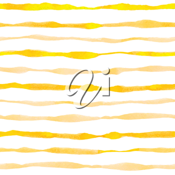Yellow striped watercolor seamless pattern with wavy lines. Hand drawn vector background