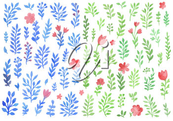 Set of watercolor florals isolated on a white background. Blue and green flowers and leaves.