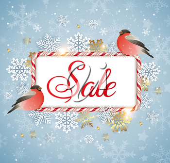 Christmas and Ney Year background with bullfinch birds and candy frame. Seasonal winter sale background. Vector illustration