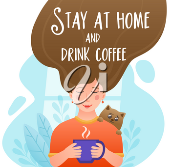 Girl drinking a coffee at home by the window in quarantine. Stay at home concept. Self-isolation during the coronavirus epidemic. Vector illustration.