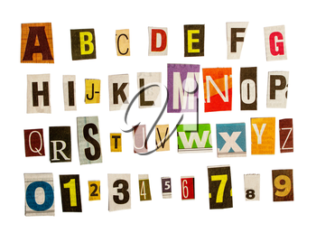latin alphabet and numbers for anonymous letters in order to remain unidentified cut out by scissors from different newspapers isolated on white background