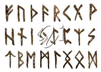 letters the ancient alphabet of the Vikings and Scandinavians handwritten and isolated on a white background