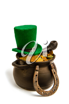 green classic leprechaun hat smoking pipe horseshoe symbol of luck and treasure pot on white background