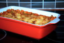 Bake lasagne in the red saucer.
