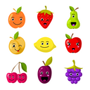 Cute kids fruit vector characters with funny smiling faces. Sweet fruit cartoon face, illustration of food fruit vitamin