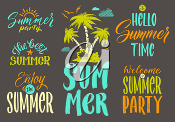 Handwriting vector words set for summer postcard decoration. Vintage illustrations. Lettering text hello summer and summer time party
